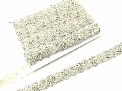 16'' Silver Colour Bridal Wedding Trim Dress Sash Crystal Rhinestone Belt Trim
