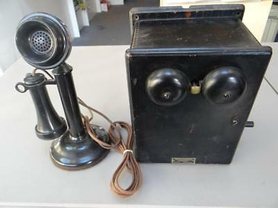 Antique Western Electric Telephone Ringer Box + Candlestick Telephone DC5280