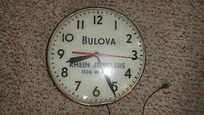 Rare Antique Bulova Advertising Lighted Round Wall Clock Rhein Jewelers Works