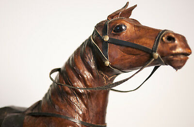 Vtg Fine Leather Horse  Equestrian Art Figurine Collectible Handcrafted