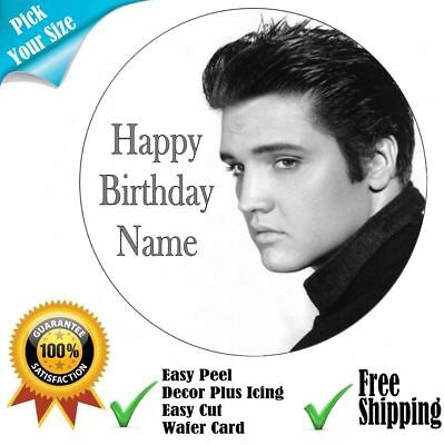 Elvis Theme Party Personalised Edible Cake Topper Icing or Wafer