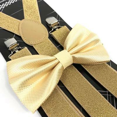 52223de1f8e Coool Soft Gold Diamond Bow Tie   Glitter Suspenders Wedding Prom Party