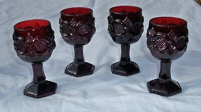 """4 (or 8) Vtg AVON Ruby Red Cape Cod 1876 Wine Juice Cordial Glasses 4.5"""""""