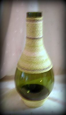 "Green Wine Bottle Jug Wrapped in Decorative Twine - 13.75""Tall, Holds 10.25 Cups"