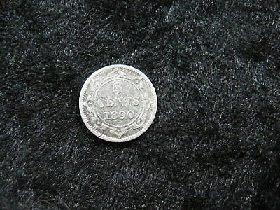 1 old world SILVER coin CANADA NEWFOUNDLAND 5 cents 1890 KM2 Queen Victoria