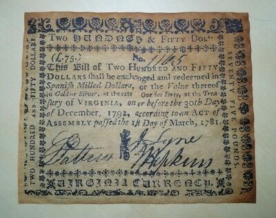 US 1781 $250 Virginia Currency (reproduction)