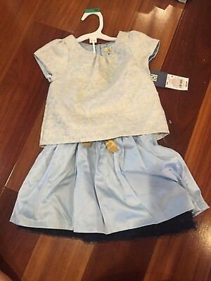 NEW Toddler Girls' Brocade Top & Satin Skirt Set - Lunar Blue - Size:2T