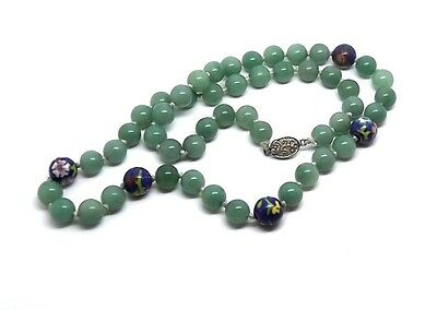 Rare CHINESE Vintage Old Green Agate Cloisonne Enamel Flower Beads Necklace