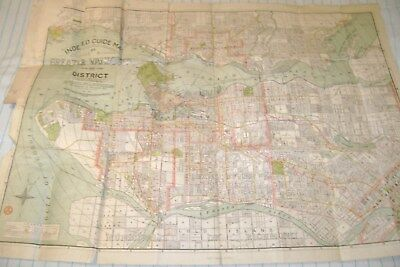 1924 Indexed Guide Map of VANCOUVER BRITISH COLUMBIA BC CANADA Colour