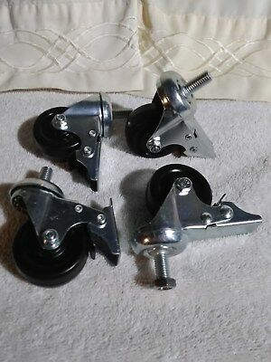 NEW! Locking Brake Casters 10M Threaded Stem (4 Lot) Great
