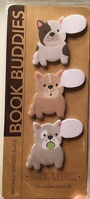 new BULLDOG post-its Stationery STICKERS Writable Adhesive Book Buddies DOGS
