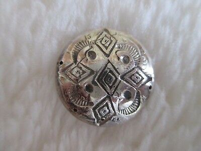 *antique/vintage 1945 Navajo Gorgeous Stamped .900+ Silver/coin Button 3/4""