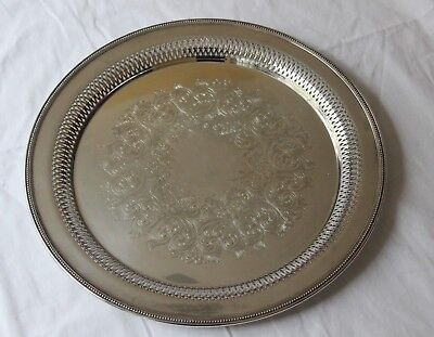 Wm. A. Rogers by Oneida Silver Plated Large Round Etched Pierced Serving Tray