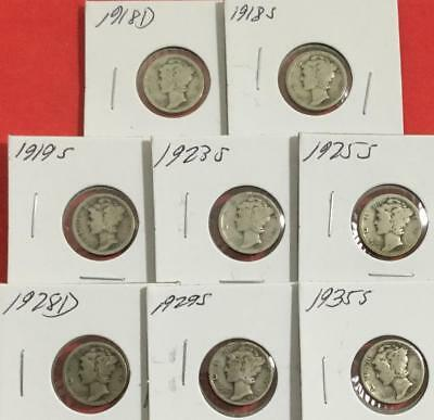 1918D-1935S US Mercury SILVER DIMES SEt of 8 Different Carded Mint Marked Coins!
