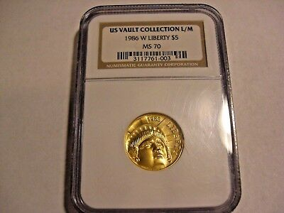 1986-W Statue of Liberty $5 1/4 oz Gold Commemorative Coin NGC MS-70 COTY