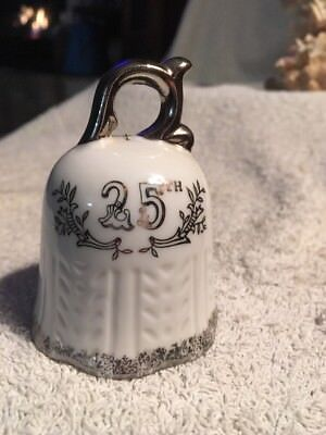 25Th Anniversary Porcelain Bell White And Silver 3 1/2 Inchs Tall