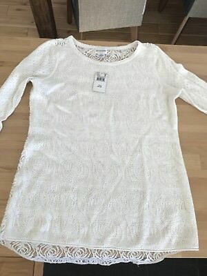 NWT Motherhood Maternity Long Sleeve Lace Thermal Shirt Top Cream Ivory Size S