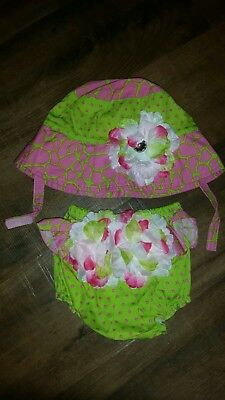 Toby N.Y.C. Baby Infant Newborn Sun Hat & Diaper Cover Set. Photo prop. 6-12 Mo.