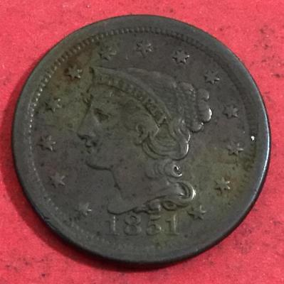 1851 US LARGE CENT! Extra Fine! Very Nice! Old US Coins!