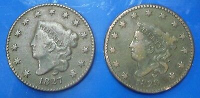 Very Nice Earl Date 1827 and 1828 Large Cents with a Full LIBERTY on both!