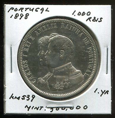 * Portugal 1898 ( Discovery Of India ) 1,000 Reis  One Yr...low Minted 4Oo K. *