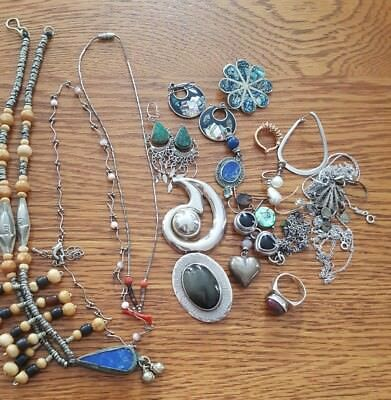 SCRAP Sterling Silver, 925, mixed metals, Broken Jewelry Lot, Vintage To Modern