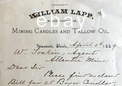 1889 Wm. Lapp Mining Candles - Hancock, MI Copper Country - Miners candleholder