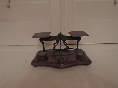 Antique Victorian English Brass Postal Weigh Scales w/Weights