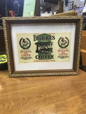 "Delicious Blend Pure Coffee A Blend From The Land Of Dixie Framed 13""x10"""