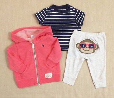 CARTER'S Baby Boys 3 months Cool Monkey Hoodie Outfit Set LOT