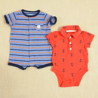 "CARTER'S Baby Boys 3M 3 months ""Ahoy Matey"" Anchor One-Piece Romper LOT"