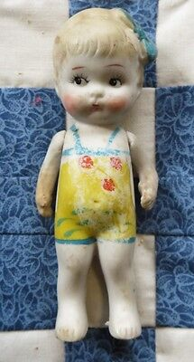 "Bisque Doll Kewpie Frozen Charlotte Bathing Beauty Japan 4-1/2"" Vintage"