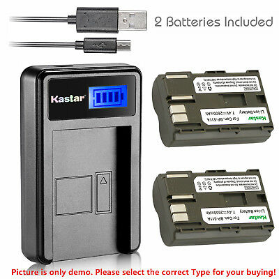 Kastar Battery LCD Charger for Canon BP-511 BP-511A & EOS D60 EOS Kiss Digital