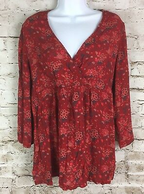 Maternity Announcements Women's Large 12 14 Peasant Top Red Floral Shirt