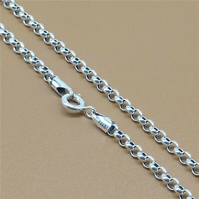 247c678676144 STERLING SILVER ROLO Chain Necklace Belcher Rollo 3mm 18 20 22 24 26 28 30  32 34