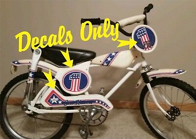 Vintage Evel Knievel AMF BMX bicycle, DECALS ONLY