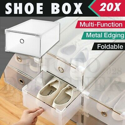 20X Storage Clear Shoe Box Container Organiser Stackable Foldable Home Wardrobe