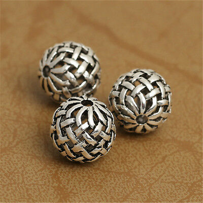 5 Sterling Silver Hollow Basket Weave Round Ball 925 Silver Celtic Beads Spacer