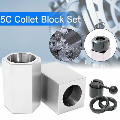 5Pcs 5C-CB Collet Block - Hex Collet Block, Square Collet Block and Collet Set Q