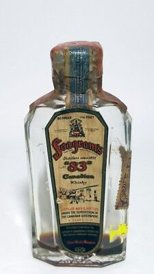 Miniature Whiskey Bottle Flask Seagrams 83 Canadian Whisky 1929