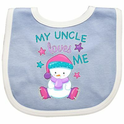 Inktastic My Uncle Loves Me- Cute Snow Baby Baby Bib Christmas Family Niece New
