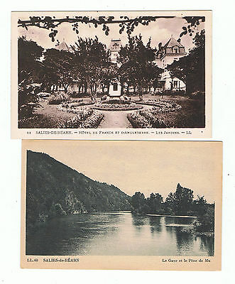 SALIES DE BEARN -  64 -  LOT 2 CPA  HOTEL FRANCE et ANGLETERRE , le GAVE