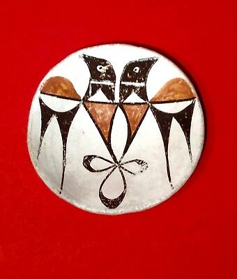 Vintage Acoma Pueblo Sky City Small Pottery Plate with Double Birds