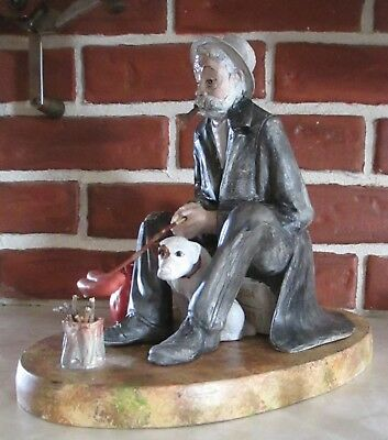 Hand Painted Ceramic Norman Rockwell Hobo With Dog From 1982 Duncan Ceramic Mold