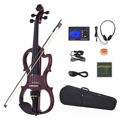 ammoon VE-201 Full Size 4/4 Solid Wood Silent Electric Violin Fiddle Maple L5A3