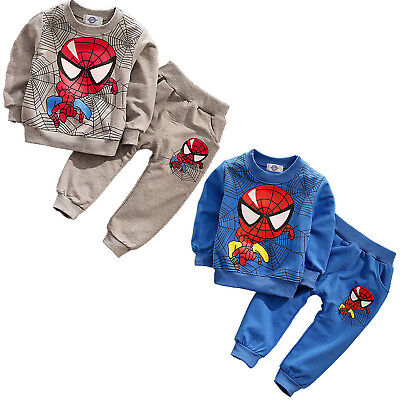 Kids Baby Boys Spiderman Pullover Hoodie Tops + Long Pants Outfits Tracksuit Set