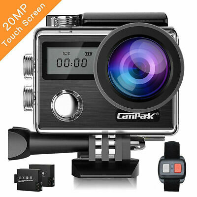 Campark X20 Touchscreen Sport Action Camera WiFi FHD 4K 20MP Dual Waterproof UK