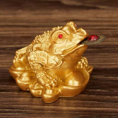 Feng Shui Lucky Money Toad Ingot Gold Three Legs Frog Enhance Fortune Decoration