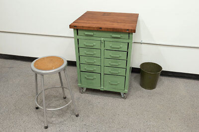Vintage Industrial Lyon Military Cabinet Antique Tool Chest Butcher Block  Wood