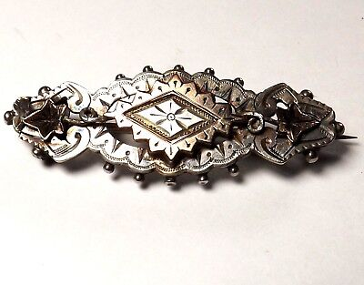 Antique Victorian 1892 Hallmarked Heavy Solid Silver And Gold Love Brooch